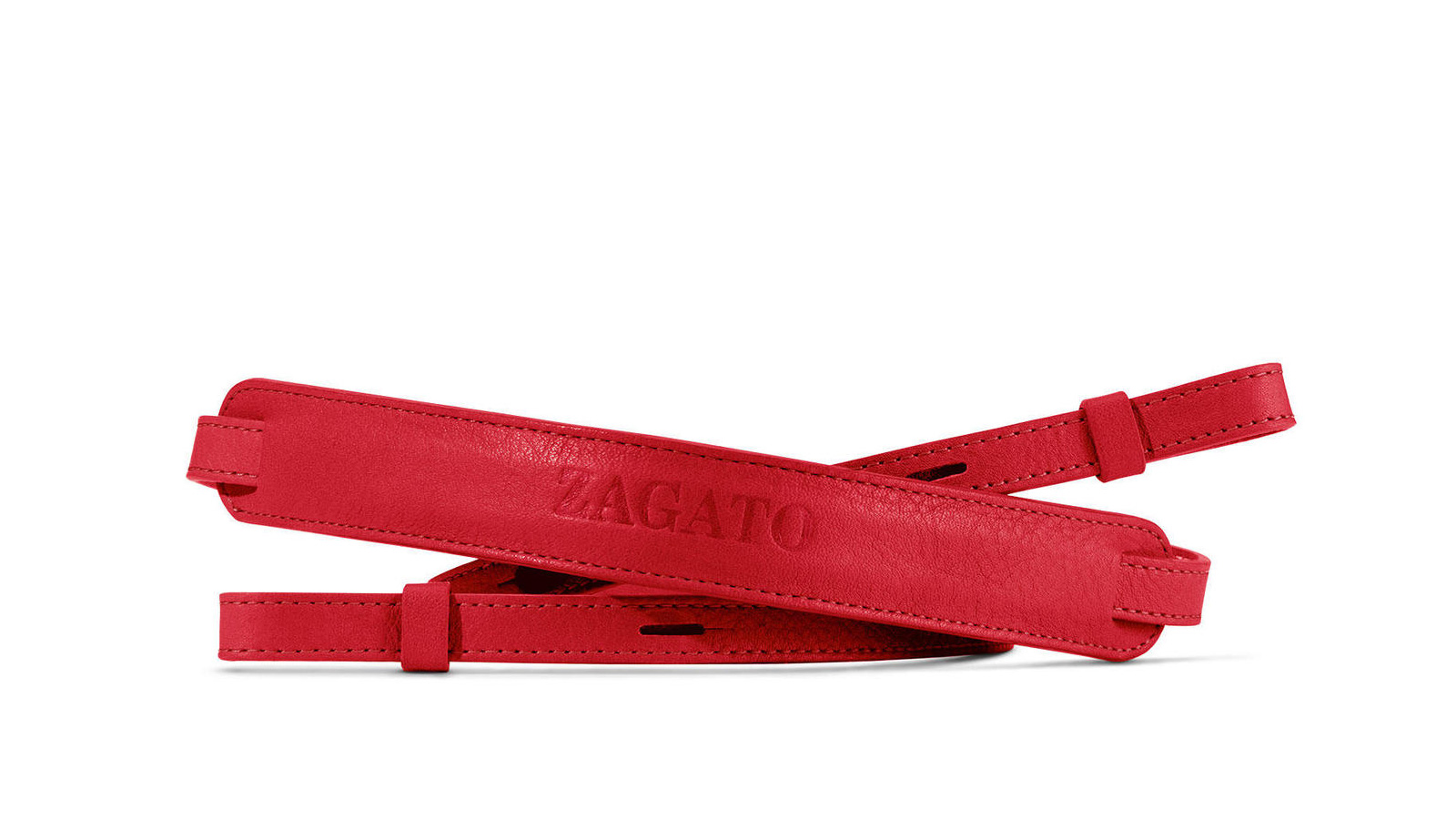 Red full-grain leather carry strap with the Zagato logo embossed on