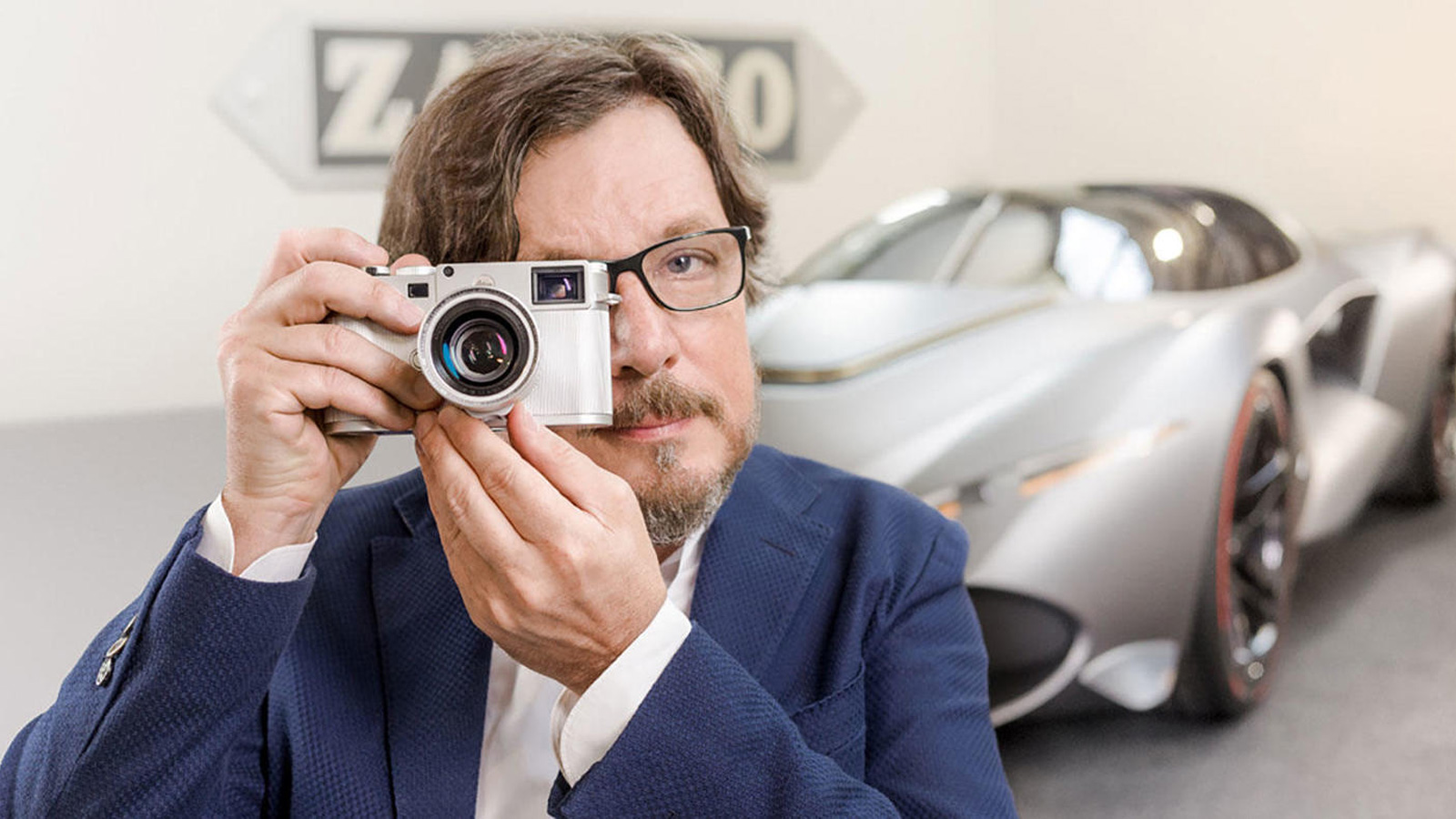 Andrea Zagato taking a picture with his special edition Leica's M10